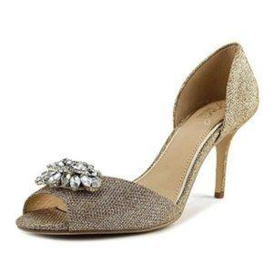 Jewel Badgley Mischka Gold Peep Toe Heels Size 6